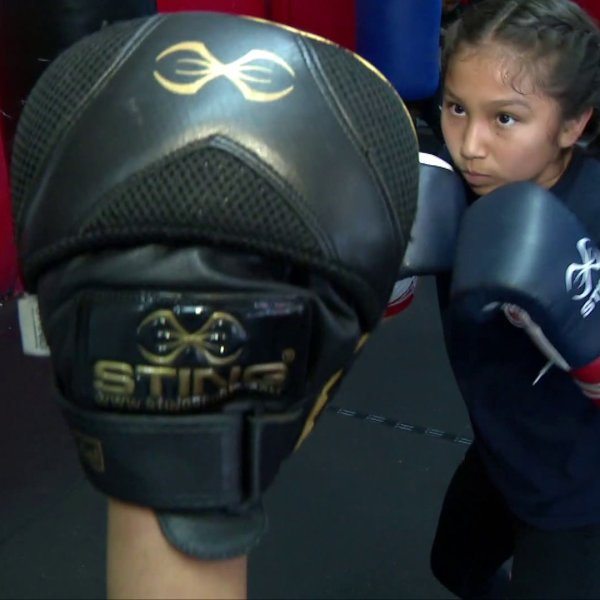 Meryland Gonzalez, 13, of Watts is a six-time national boxing champion. And she's got her sights set on Olympic gold. She's pictured while training on May 24, 2019. (Credit: KTLA)