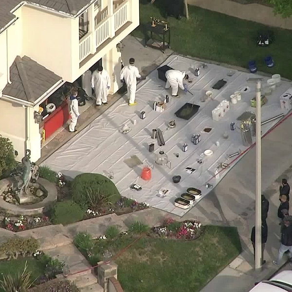 Authorities investigate a home in Burbank on May 2, 2019. (Credit: KTLA)