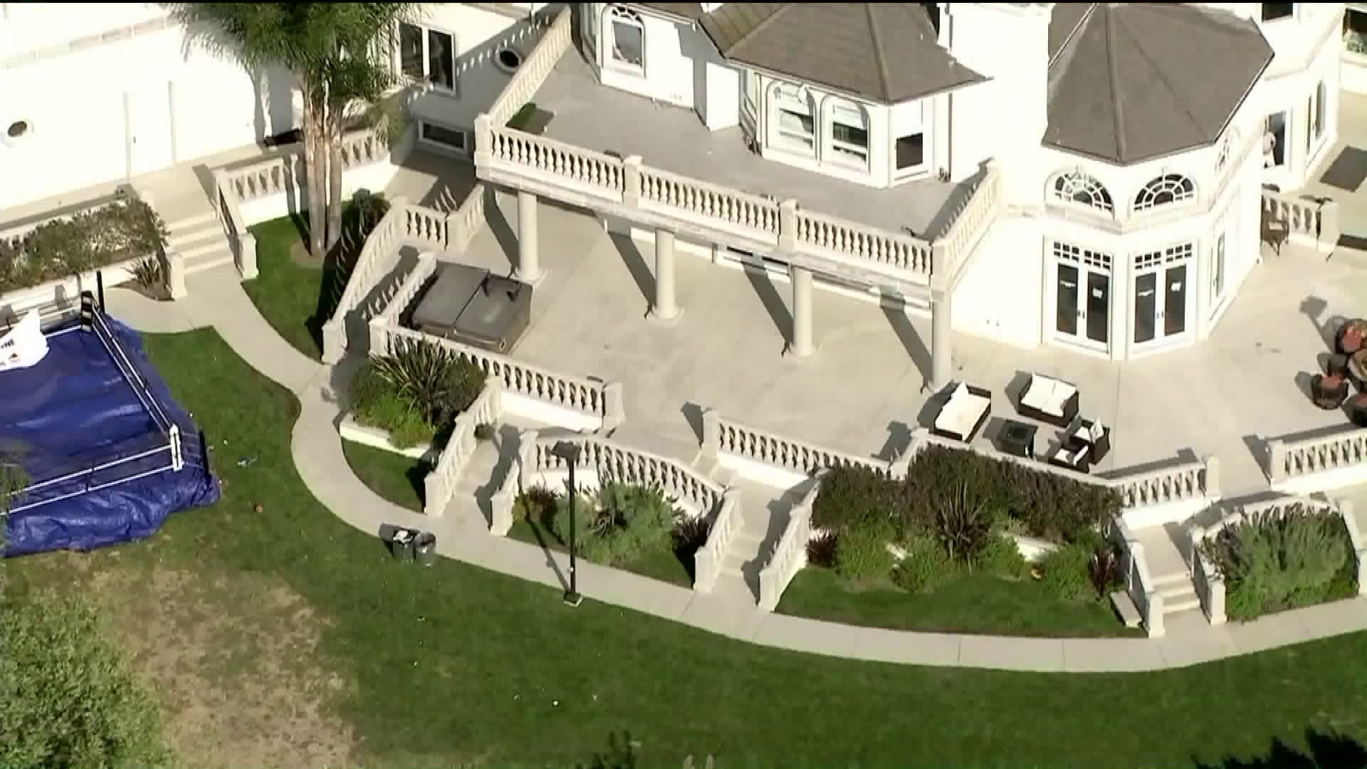 A mansion is seen in Calabasas after a party hosted by YouTube personality Jake Paul. (Credit: KTLA)