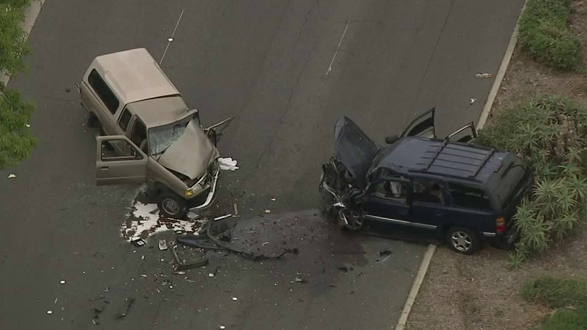 The scene of a fatal traffic collision on White Avenue in Pomona is seen on May 7, 2019. (Credit: KTLA)