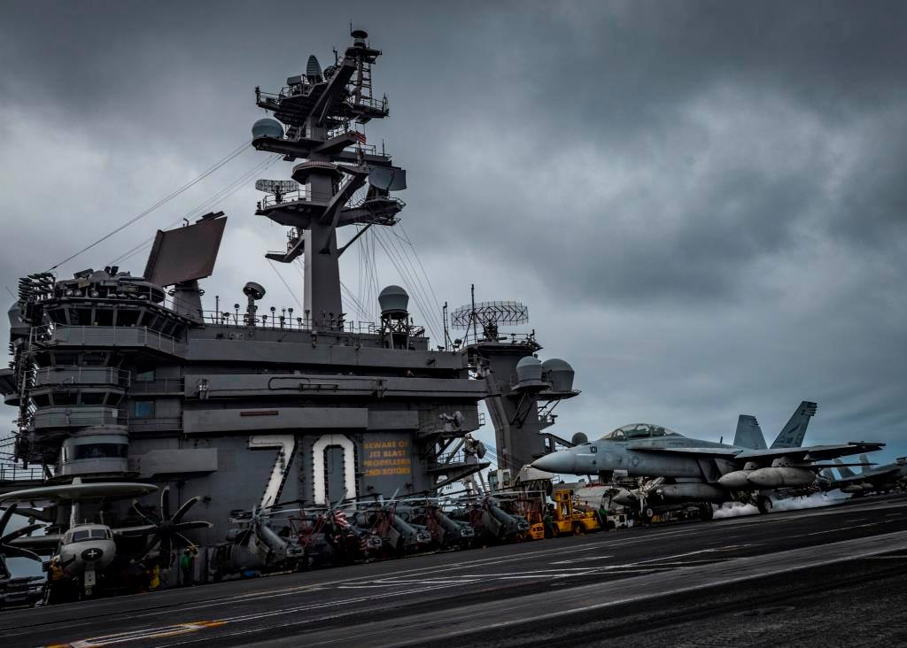 USS Carl Vinson appears in an image posted to the ship's Facebook page in April 2018. (Credit: U.S. Navy /Mass Communication Specialist Third Class Matthew Granito)
