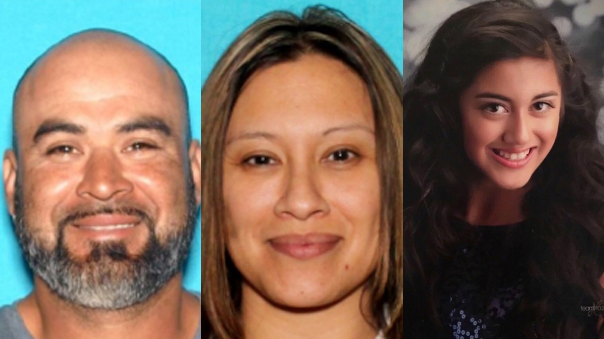 Roman Cerratos, left, Maricela Mercado, center, and Alora Benitez, right, are seen in photos released by the L.A. County Sheriff's Department.