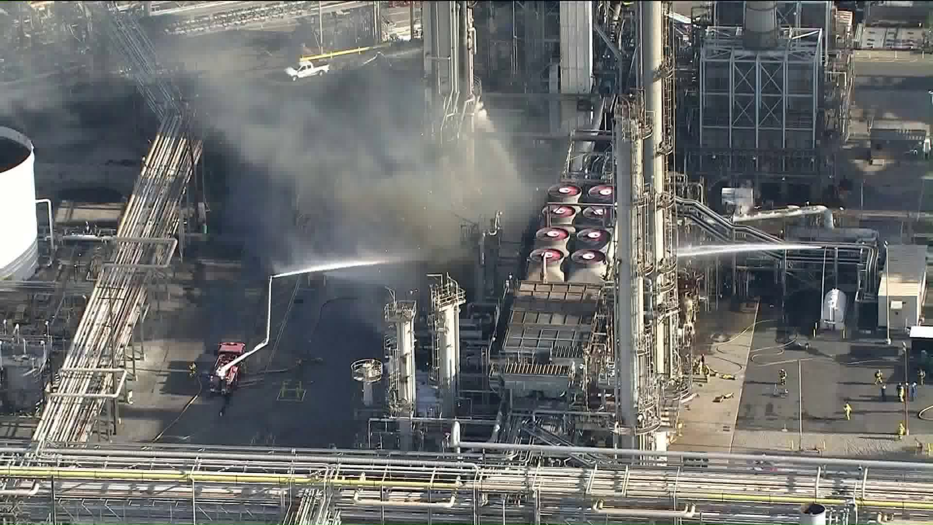 Fire crews respond to a fire at the Phillips 66 refinery in Carson on May 2, 2019. (Credit: KTLA)