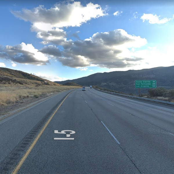 The southbound 5 Freeway near Templin Highway, north of Castaic, as seen in a Google Street View image in February of 2018.