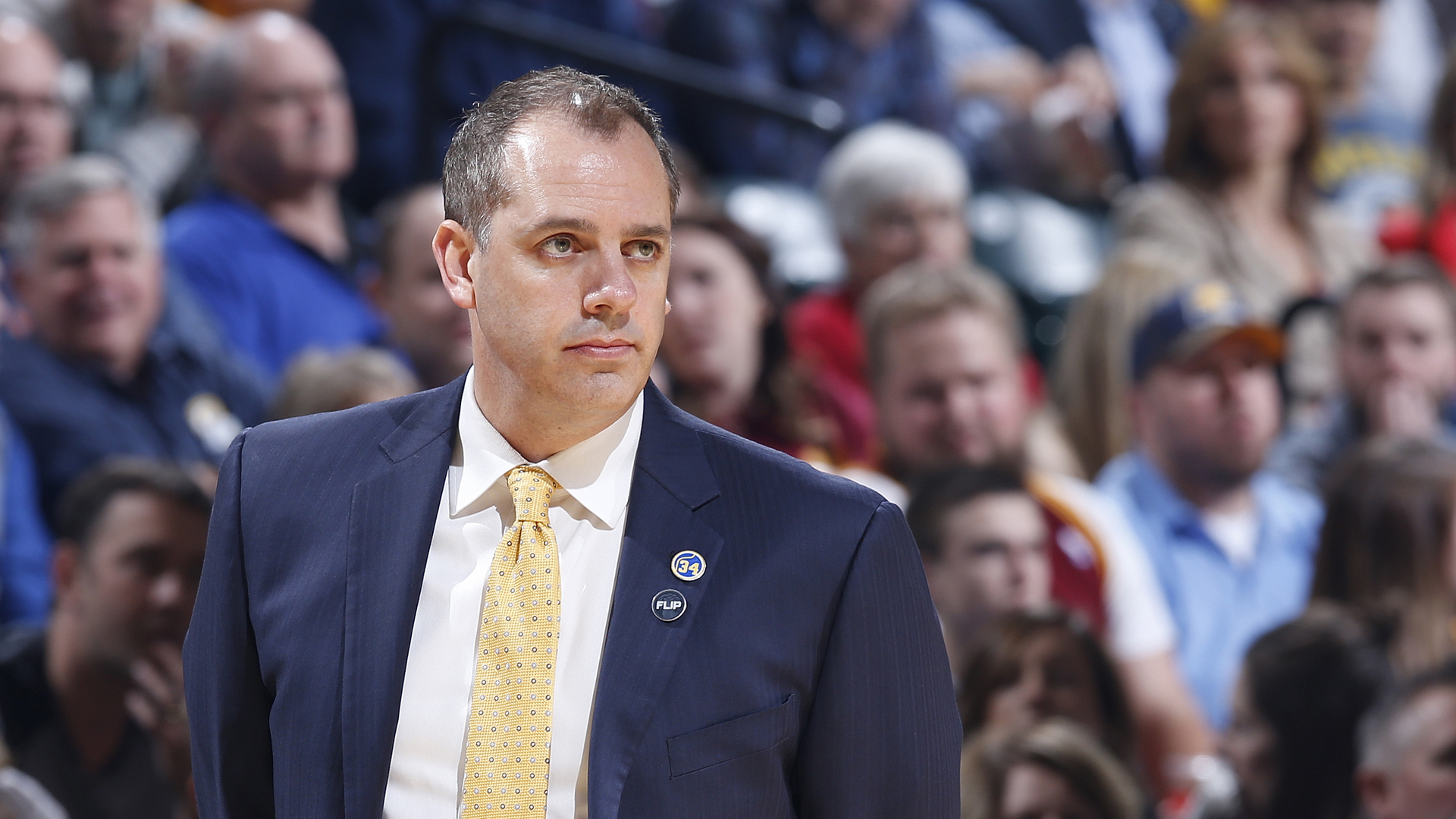 Frank Vogel, then-head coach of the Indiana Pacers, looks on during the team's game against the Cleveland Cavaliers in the first half, at Bankers Life Fieldhouse on Feb. 1, 2016, in Indianapolis, Indiana. (Credit: Joe Robbins/Getty Images)