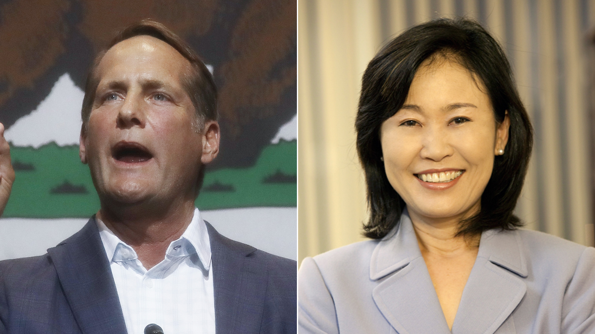 From left: Harley Rouda speaks at a campaign event in Fullerton on Oct. 4, 2018, and Michelle Steel is seen in her official portrait for the Orange County Board of Supervisors. (Credit: Mario Tama / Getty Images)
