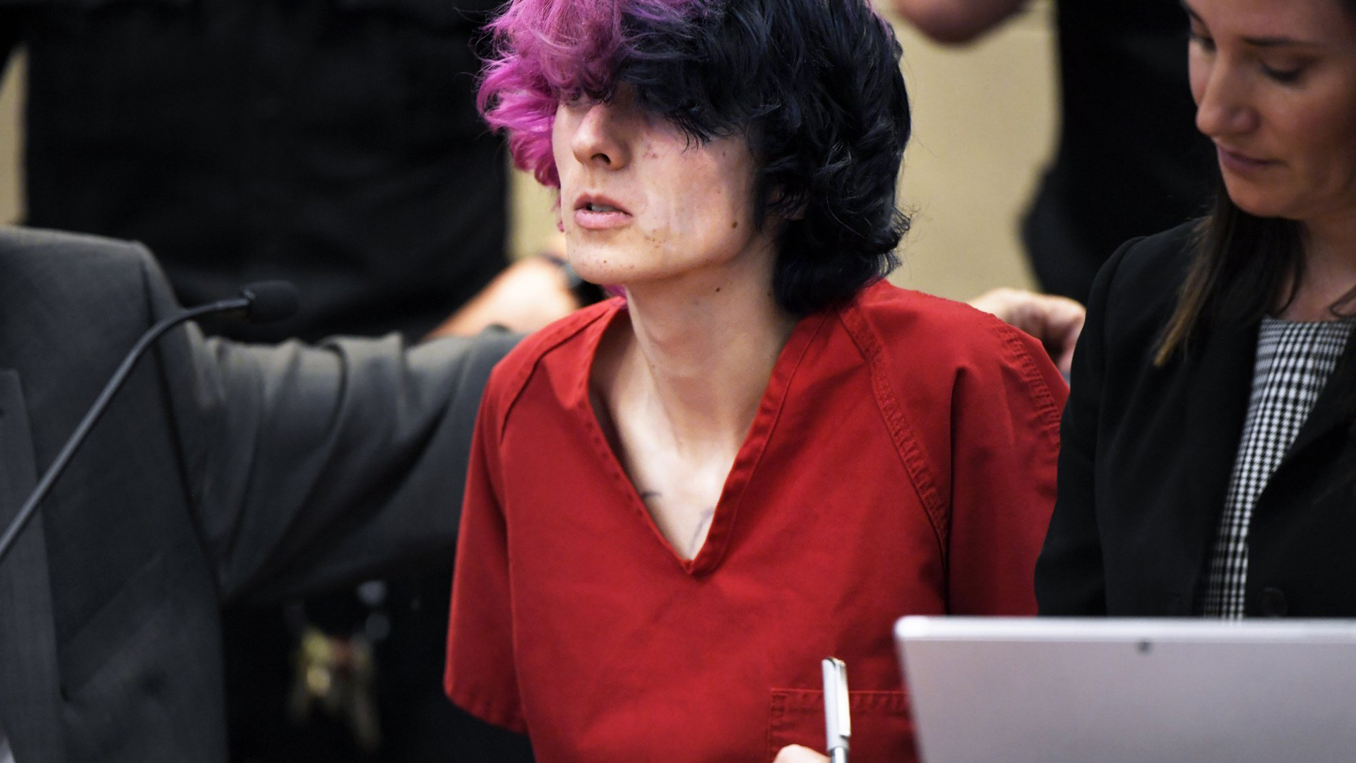 Devon Erickson rarely looked up during a court appearance Wednesday. (Credit: Joe Amon/The Denver Post/Pool/AP)