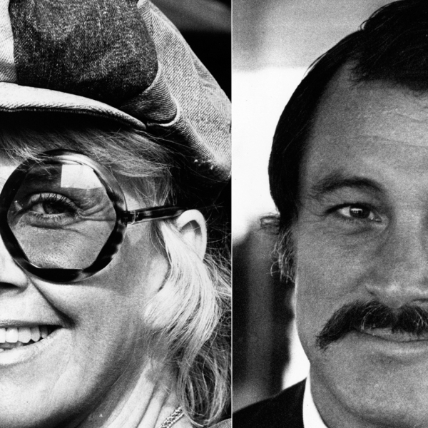 On left: Hollywood actress Doris Day arrives at London's Heathrow Airport for a vacation in England Sept. 20, 1973. (Credit: Graham Wood/Evening Standard/Getty Images) On right: American screen actor Rock Hudson is seen in an undated photo. (Credit: R Jones/Getty Images)