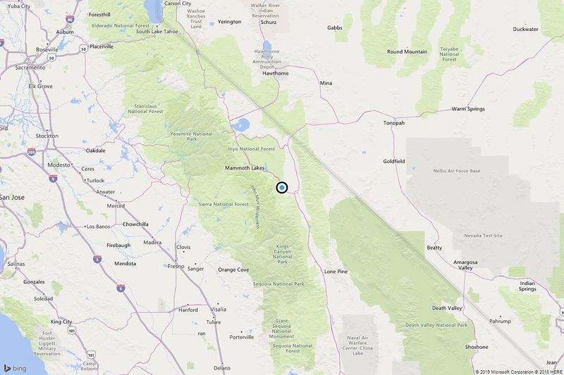 A map showing the location of the epicenter of Saturday morning's quake near Mesa, Calif. (Credit: Bing Maps via Los Angeles Times)