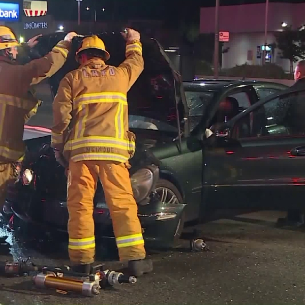 Emergency crews respond to a hit-and-run crash in Northridge on May 20, 2019. (Credit: RMG News)