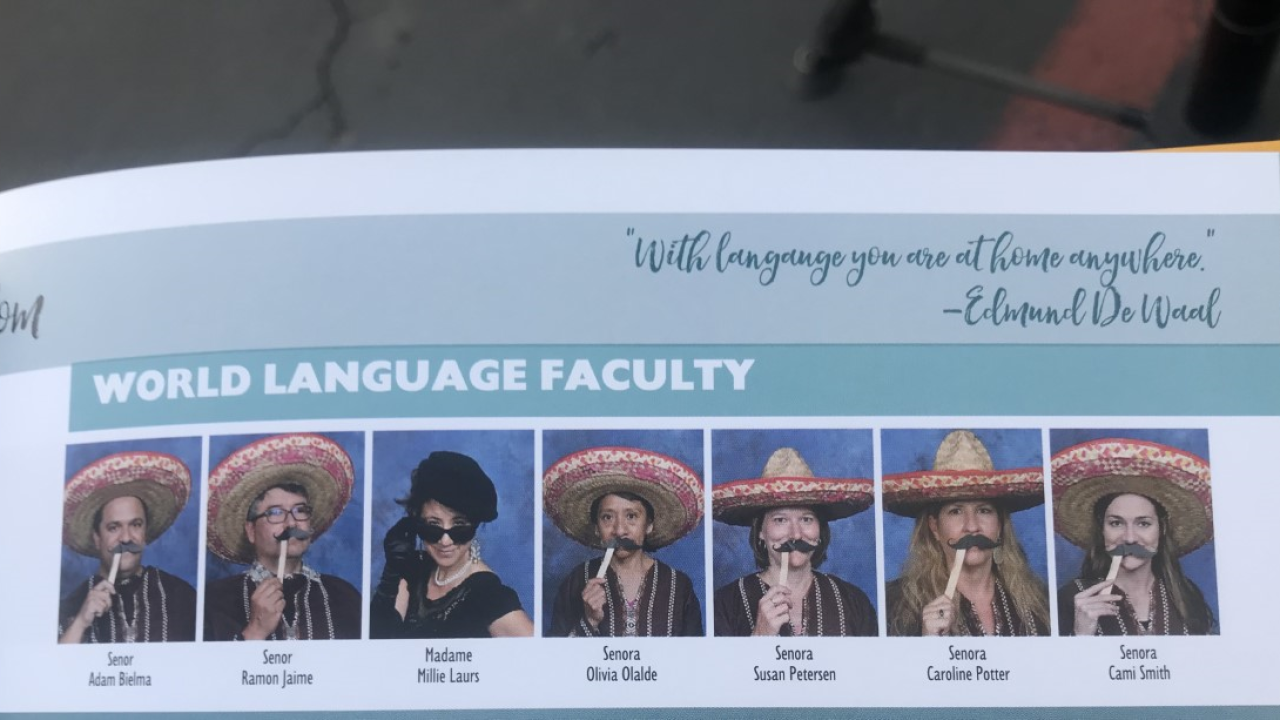 Teachers school portraits appear on a faculty page in the yearbook for San Pasqual High School in Escondido. (Credit: KGTV via CNN)