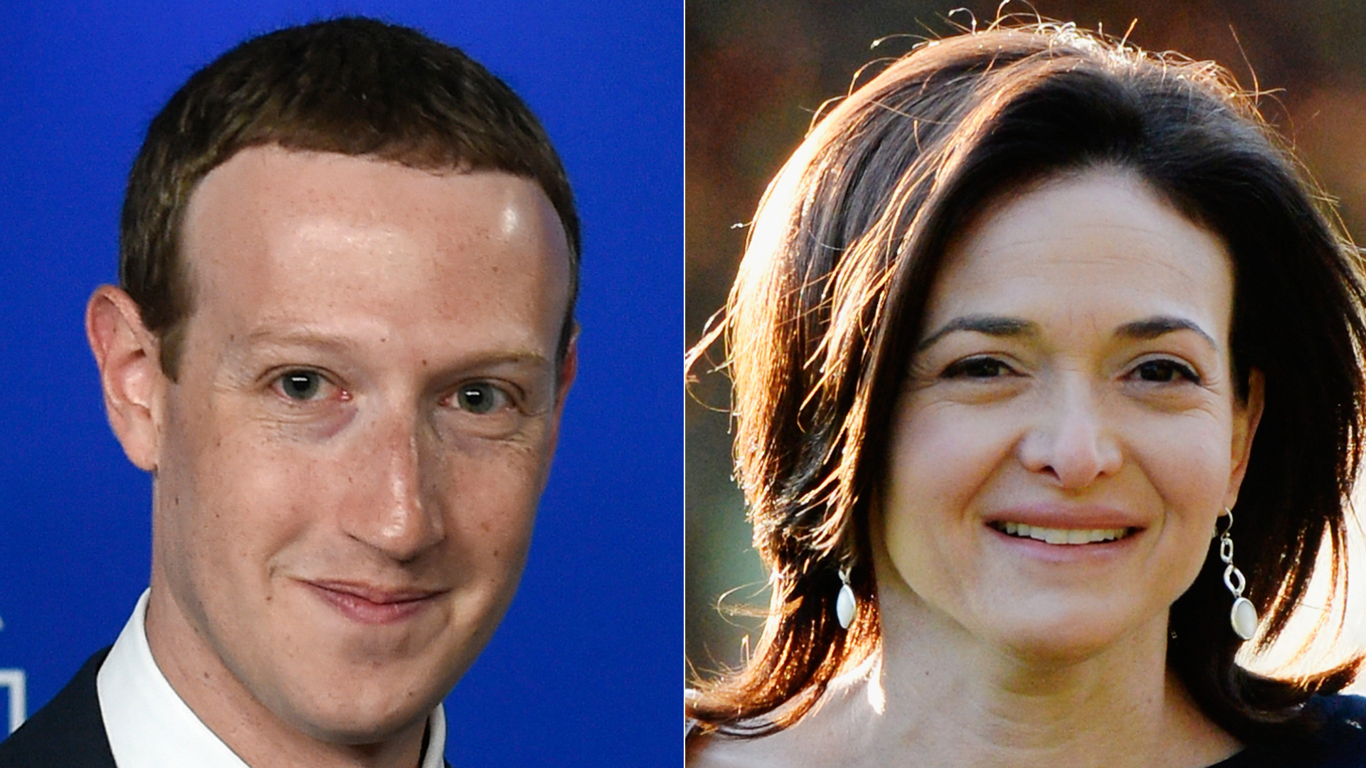 On left, Facebook CEO Mark Zuckerberg arrives at the European Parliament on May 22, 2018. (Credit: JOHN THYS/AFP/Getty Images) On right, Sheryl Sandberg, COO of Facebook, arrives for morning session of the Allen & Co. annual conference at the Sun Valley Resort on July 10, 2013 in Sun Valley, Idaho. (Credit: Kevork Djansezian/Getty Images)