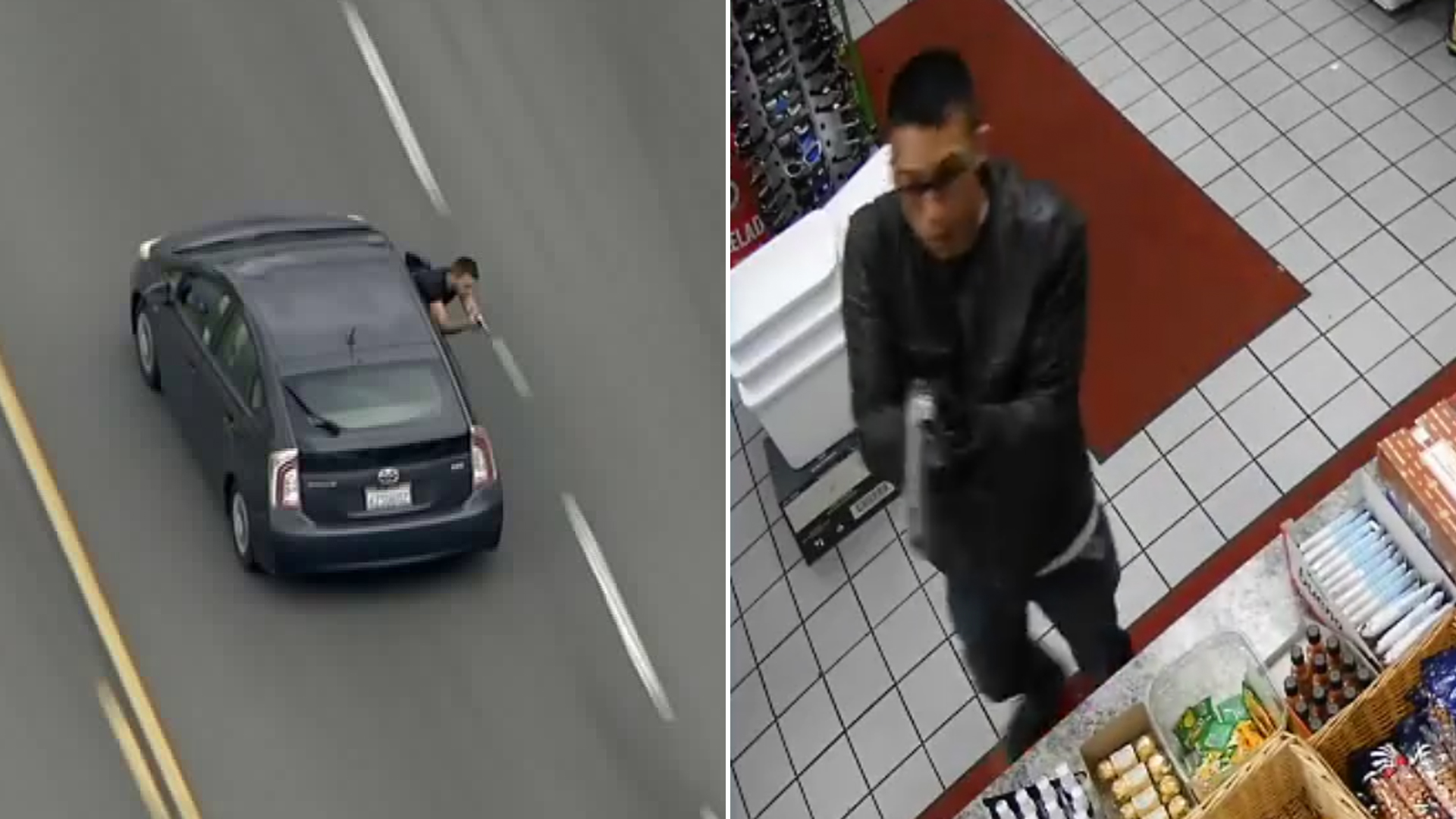 A man, left, points a gun at officers during a pursuit that began in Maywood and ended in Vernon on May 10, 2019. A homicide suspect points a gun at a clerk in Downey on May 7, 2019. (Credit: Sky5/Downey police)