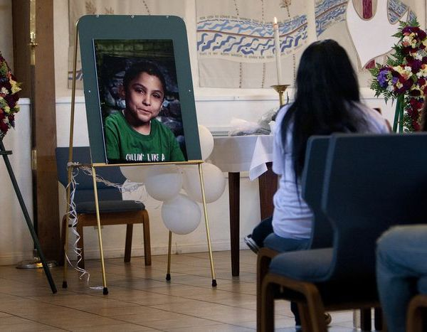 Family and friends attend a memorial service for Gabriel Fernandez, 8, a Palmdale boy who was allegedly beaten to death by his mother's boyfriend in 2013. (Credit: Gina Ferazzi / Los Angeles Times)