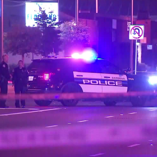 Gardena police investigate an officer-involved shooting on May 13, 2019. (Credit: KTLA)