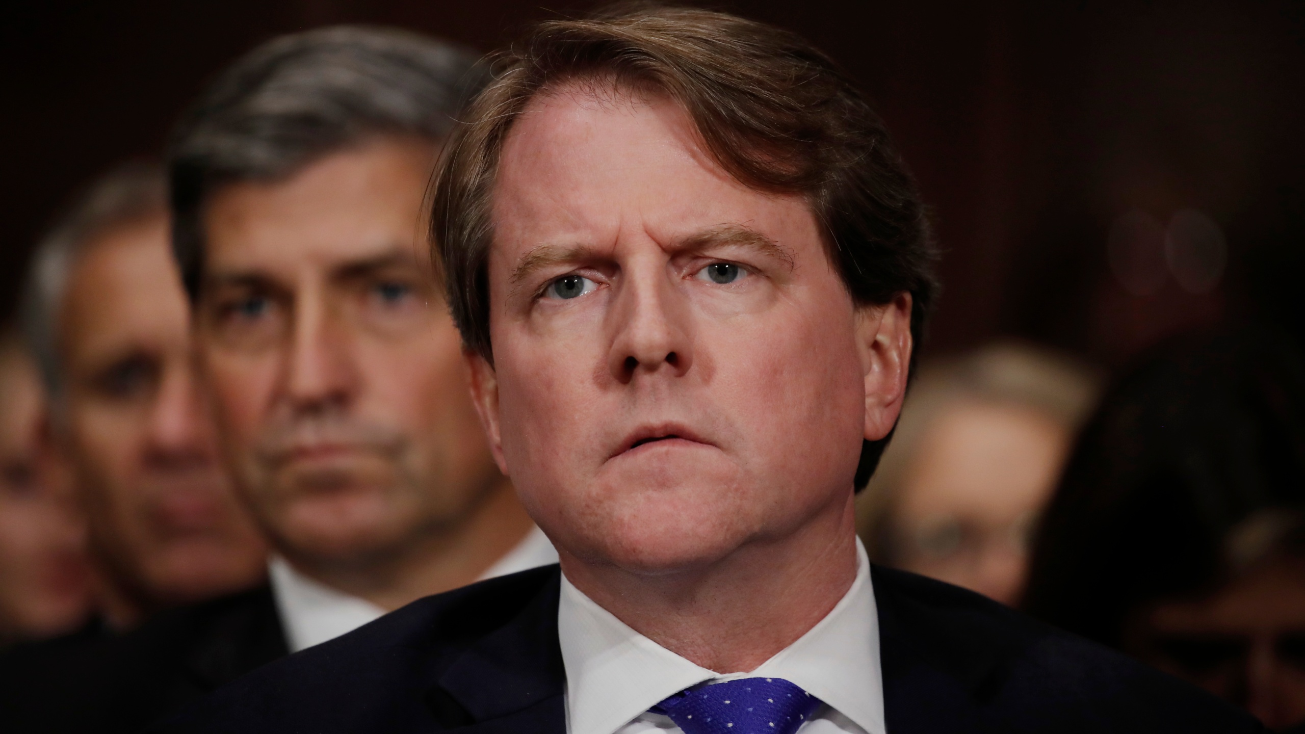 White House counsel Don Mcgahn listens to Judge Brett Kavanaugh testify before the Senate Judiciary Committee during his Supreme Court confirmation hearing in the Dirksen Senate Office Building on Capitol Hill September 27, 2018 in Washington, DC. (Credit: Jim Bourg-Pool/Getty Images)