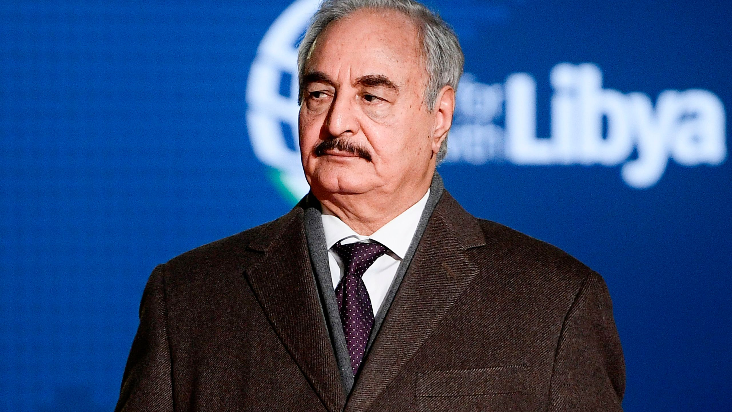 Self-proclaimed Libyan National Army (LNA) Chief of Staff, Khalifa Haftar, arrives for a conference on Libya on Nov. 12, 2018, at Villa Igiea in Palermo.(Credit: FILIPPO MONTEFORTE/AFP/Getty Images)