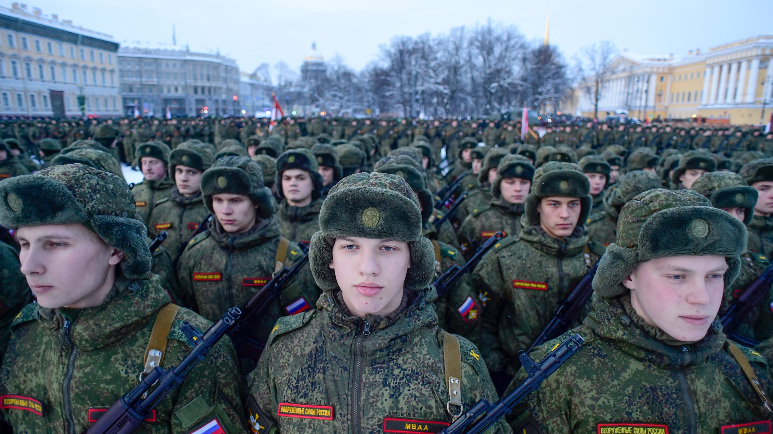 Russian servicemen march during the military parade marking the 75th anniversary of the lifting of the Nazi siege of Leningrad, at Dvortsovaya Square in Saint Petersburg on January 27, 2019. (Credit: OLGA MALTSEVA/AFP/Getty Images)