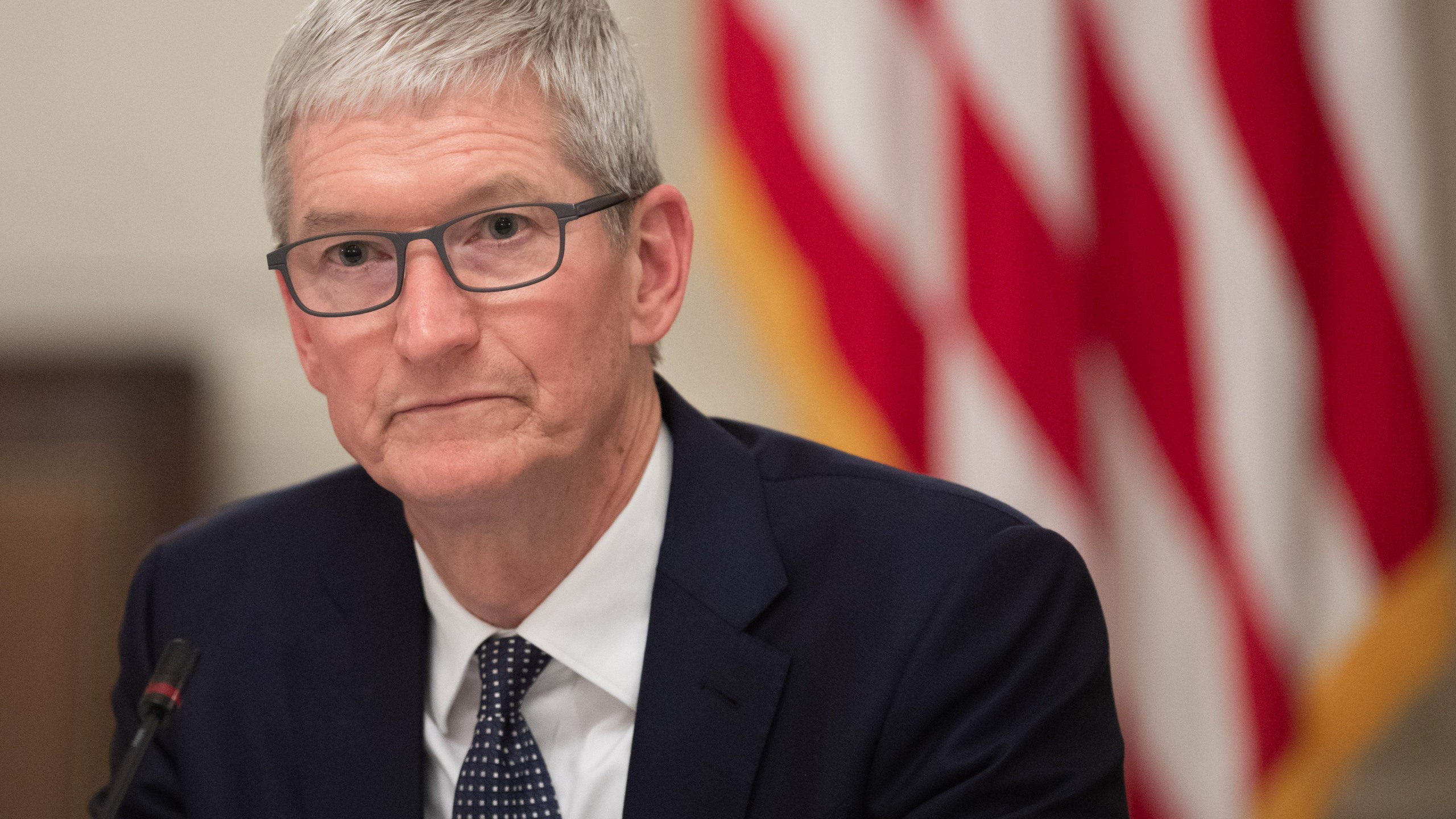 Apple CEO Tim Cook attends a meeting at the White House in Washington, D.C. on March 6, 2019. (Credit: SAUL LOEB/AFP/Getty Images)
