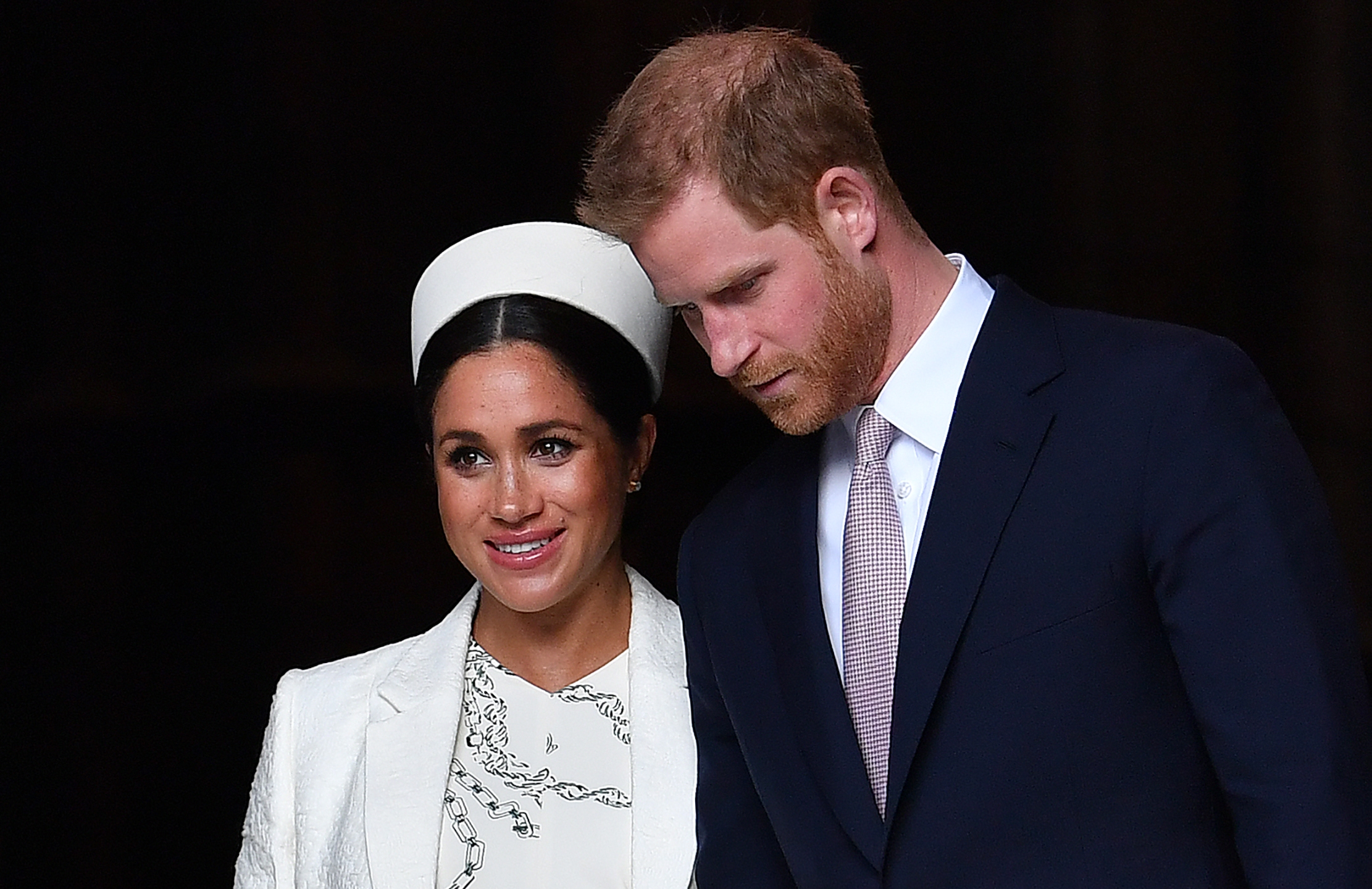 Prince Harry, Duke of Sussex and Meghan, Duchess of Sussex leave after attending a Commonwealth Day Service at Westminster Abbey in central London, on March 11, 2019. (Credit: BEN STANSALL/AFP/Getty Images)