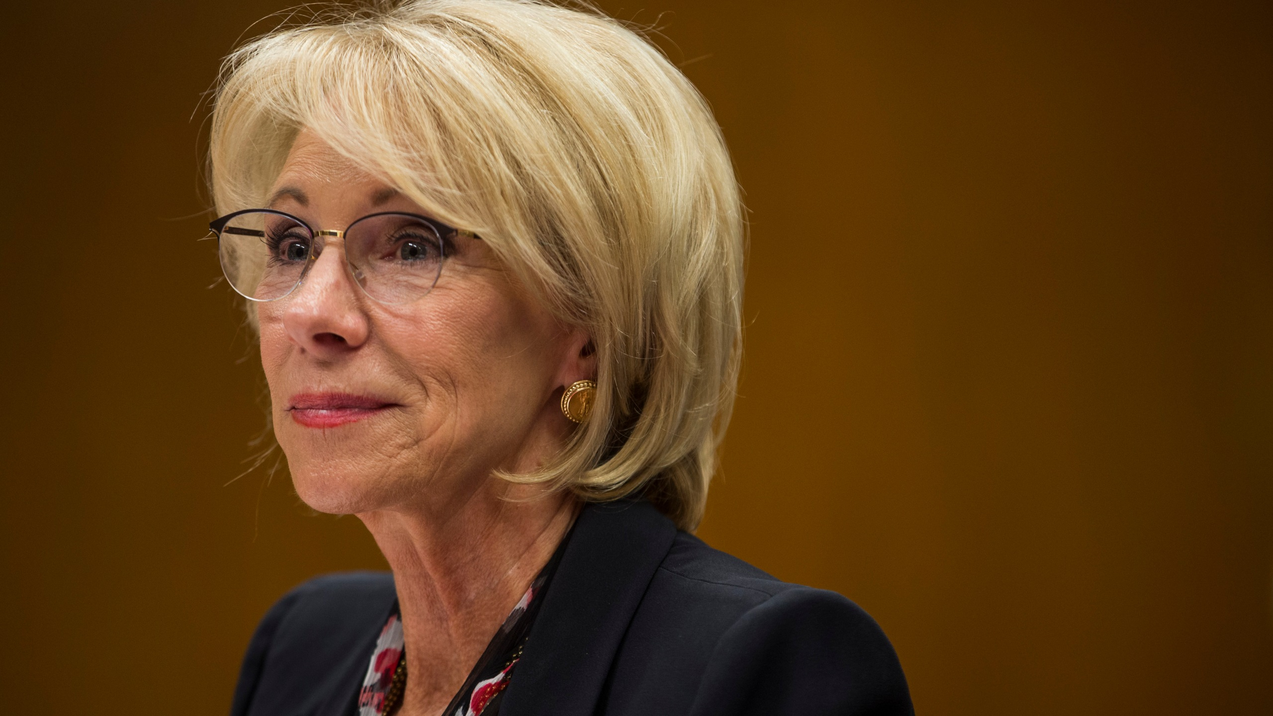 Secretary of Education Betsy DeVos testifies before a Senate subcommittee discussing proposed budget estimates and justification for the Education Department's 2020 budget on March 28, 2019. (Zach Gibson / Getty Images)