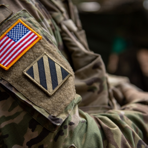 A U.S. flag is seen on the shoulder of a soldier during the Allied Spirit X international military exercises at the U.S. 7th Army training center on April 9, 2019, near Hohenfels, Germany. (Credit: Lennart Preiss/Getty Images)