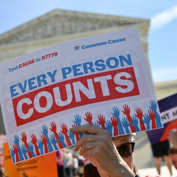 Demonstrators rally at the U.S. Supreme Court in Washington, D.C., on April 23, 2019, to protest a proposal to add a citizenship question in the 2020 census. (Credit: Mandel Ngan / AFP / Getty Images)
