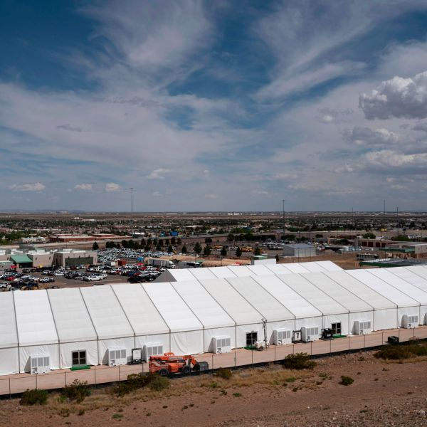 Construction of a new migrant processing facility is underway at the Customs and Border Protection facility in El Paso on April 26, 2019. (Credit: Paul Ratje / AFP / Getty Images)