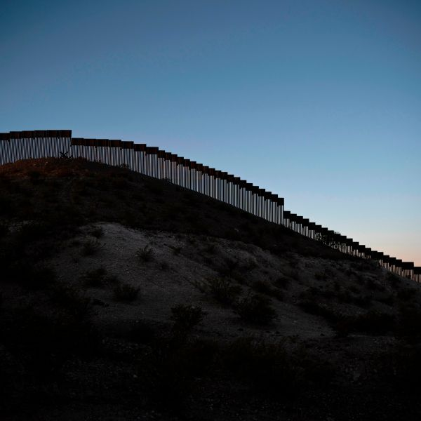 Recently installed bollard-style fencing is seen on the U.S.-Mexico border near Santa Teresa, New Mexico, on April 30, 2019. (Credit: Paul Ratje / AFP / Getty Images)