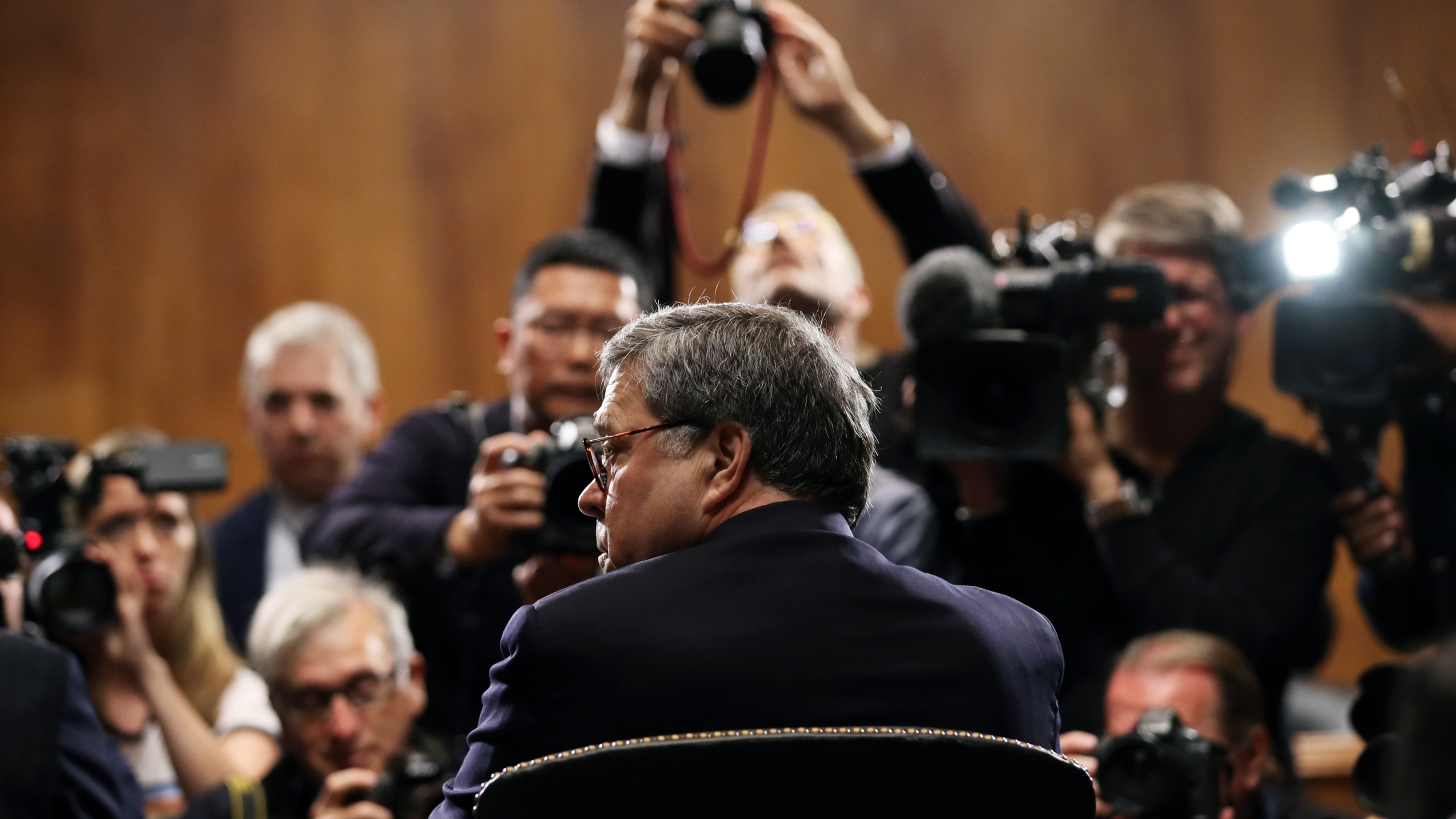 Attorney General William Barr arrives to testify before the Senate Judiciary Committee on May 1, 2019. (Credit: Win McNamee / Getty Images)