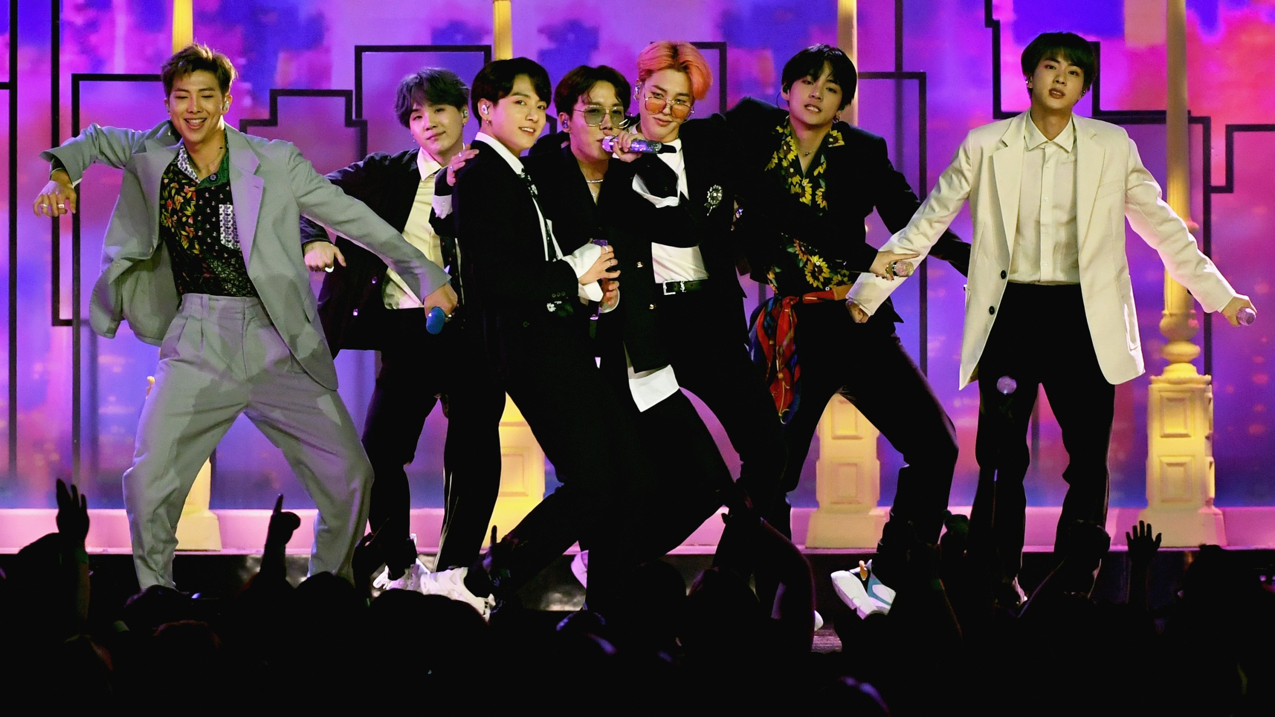 """BTS"" performs onstage during the 2019 Billboard Music Awards at MGM Grand Garden Arena on May 1, 2019, in Las Vegas, Nevada. (Credit: Ethan Miller/Getty Images)"