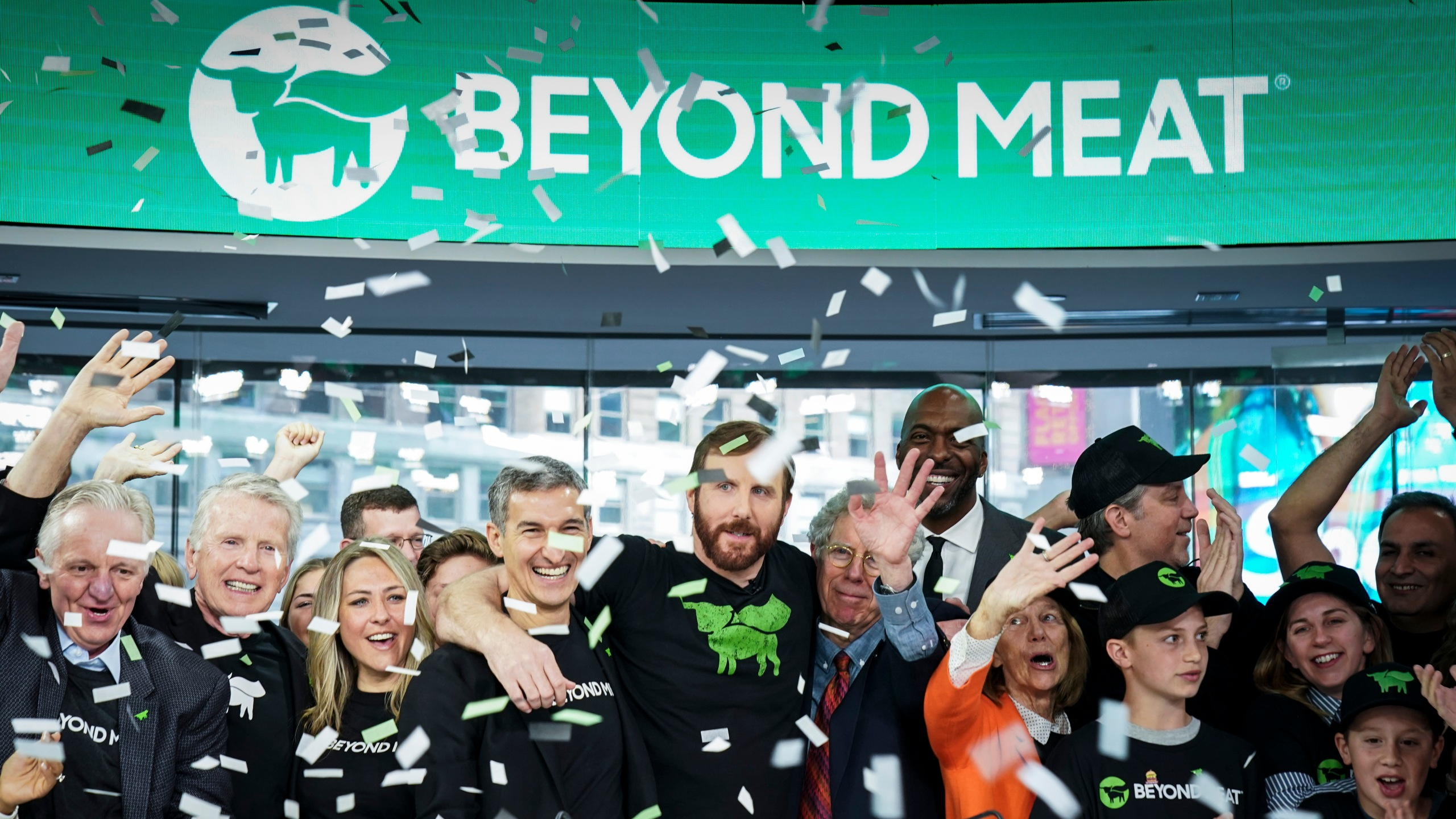 Beyond Meat CEO Ethan Brown celebrates with guests after ringing the opening bell at Nasdaq MarketSite, May 2, 2019, in New York City. (Credit: Drew Angerer/Getty Images)