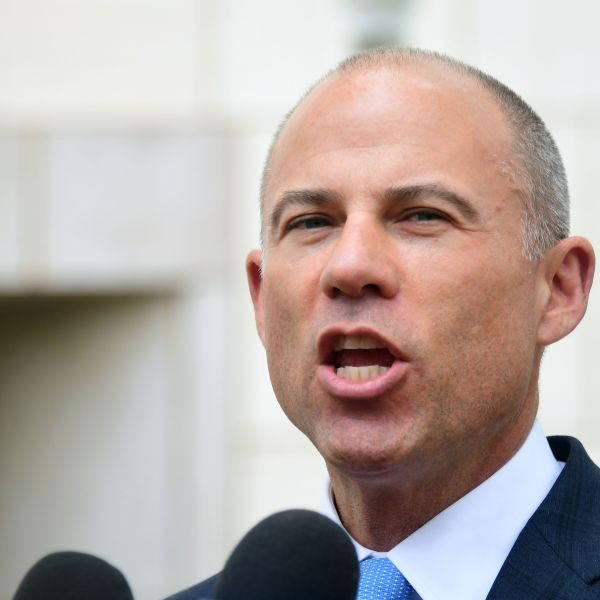 Attorney Michael Avenatti addresses the media outside the federal courthouse in Santa Ana on May 7, 2019. (Credit: Frederic J. Brown / AFP / Getty Images)