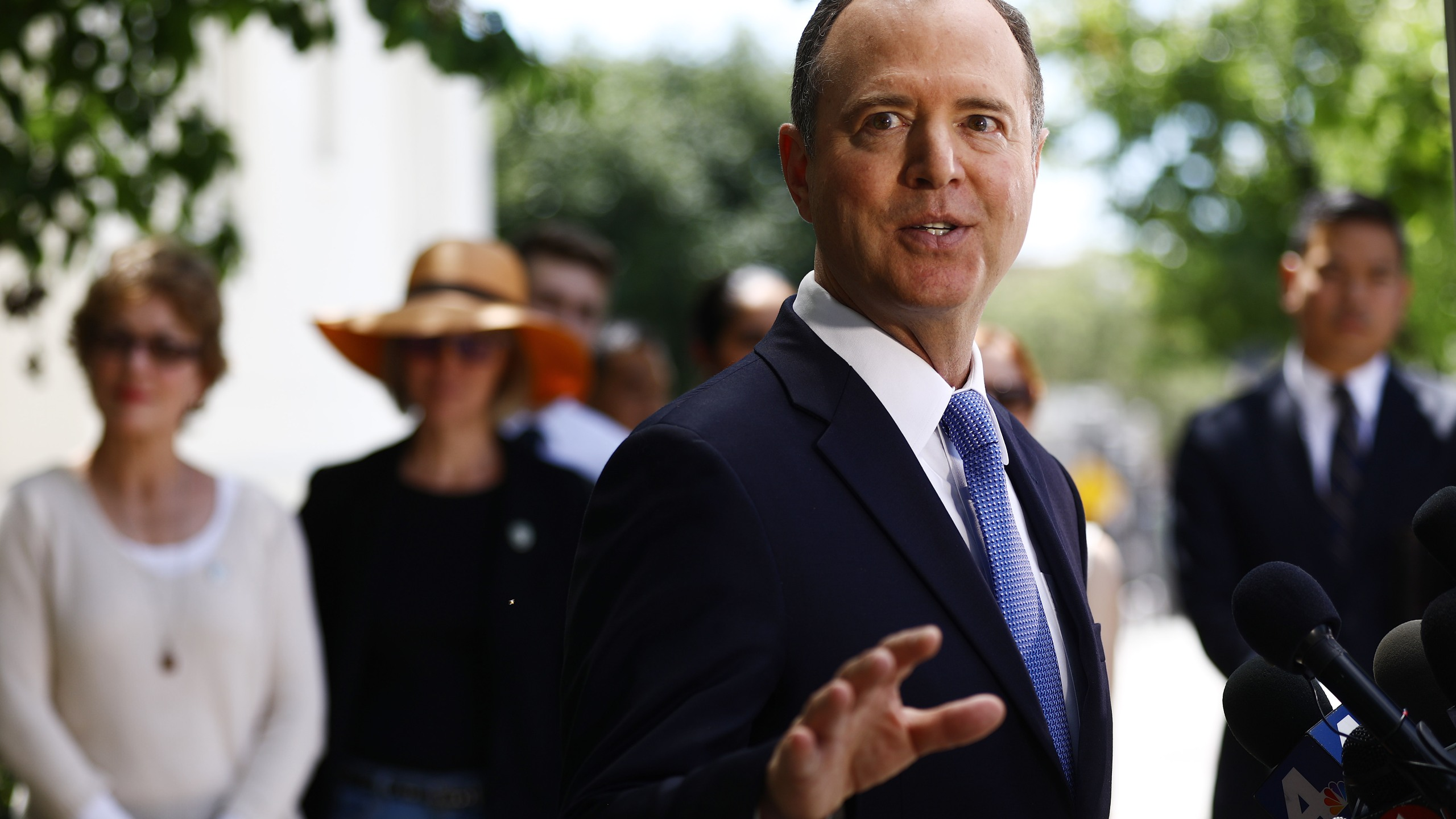 Chairman of the House Intelligence Committee Adam Schiff speaks at a press conference discussing today's release of the redacted Mueller report on April 18, 2019 in Burbank, California.(Credit: Mario Tama/Getty Images)
