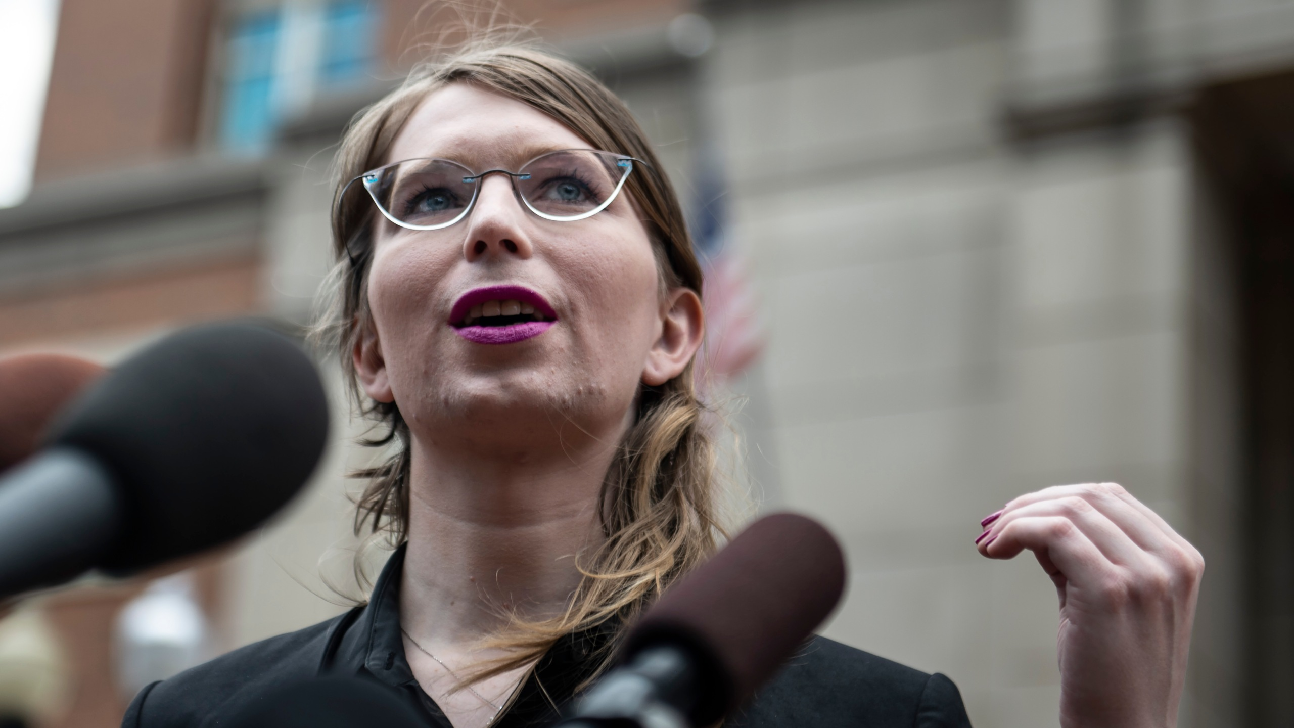 Former military intelligence analyst Chelsea Manning speaks to the press ahead of a grand jury appearance about WikiLeaks in Alexandria, Virginia, on May 16, 2019. (Credit: Eric Baradat / AFP / Getty Images)