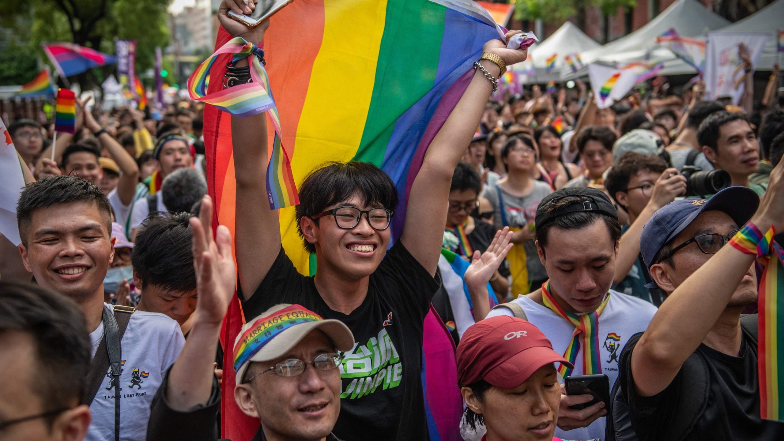 People celebrate after Taiwan's parliament voted to legalize same-sex marriage on May 17, 2019, in Taipei, Taiwan. (Credit: Carl Court/Getty Images)