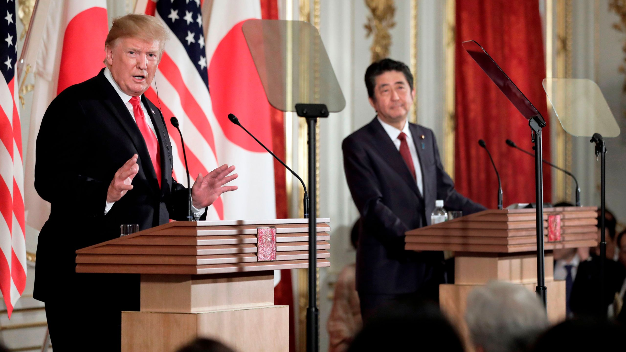 Donald Trump speaks during a joint press conference with Japan's Prime Minister Shinzo Abe at Akasaka Palace in Tokyo on May 27, 2019. (Credit: KIYOSHI OTA/AFP/Getty Images)