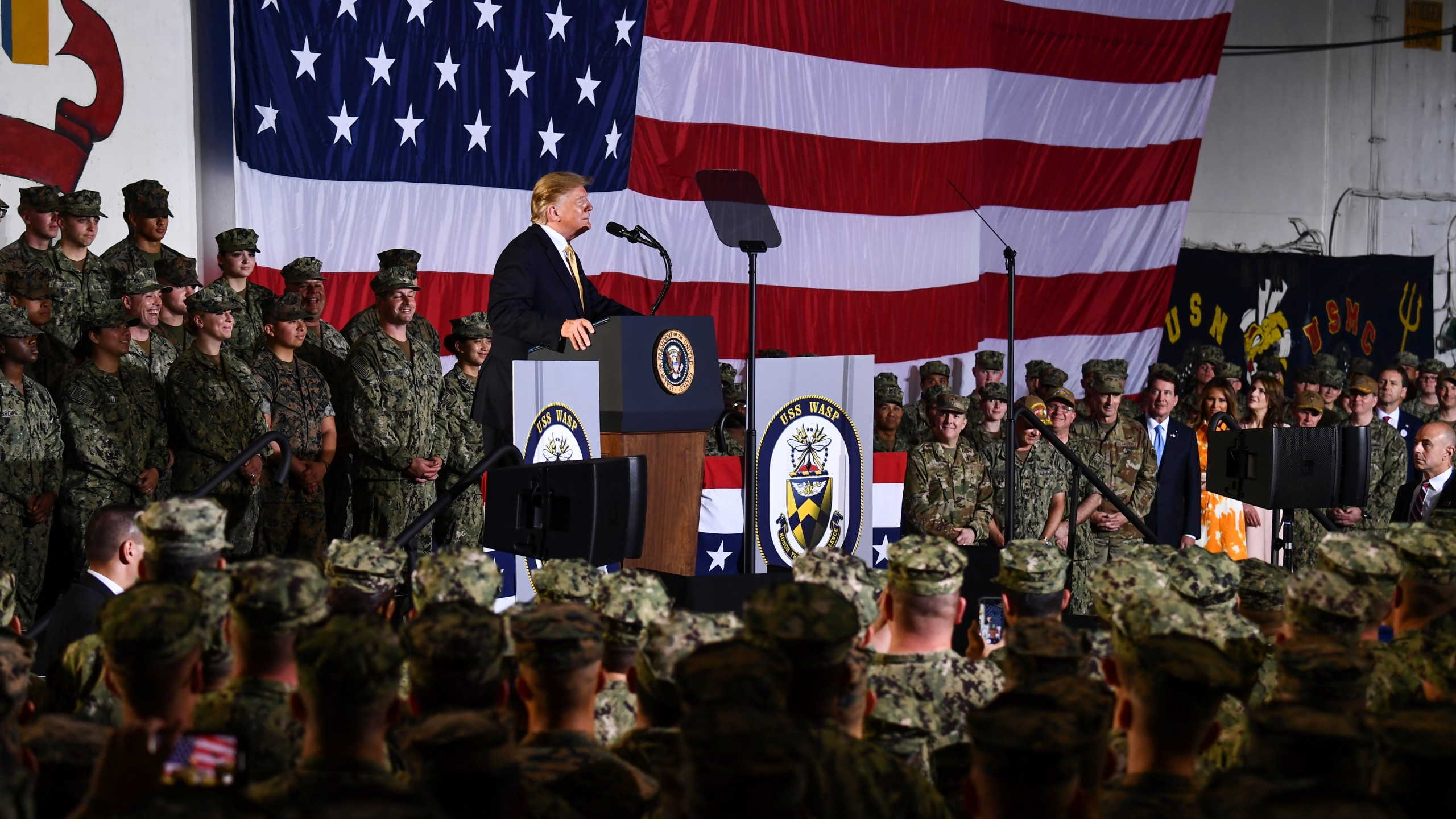 President Donald Trump speaks during a Memorial Day event aboard the amphibious assault ship USS Wasp in Yokosuka, Japan, on May 28, 2019. (Credit: Brendan Smialowski / AFP / Getty Images)
