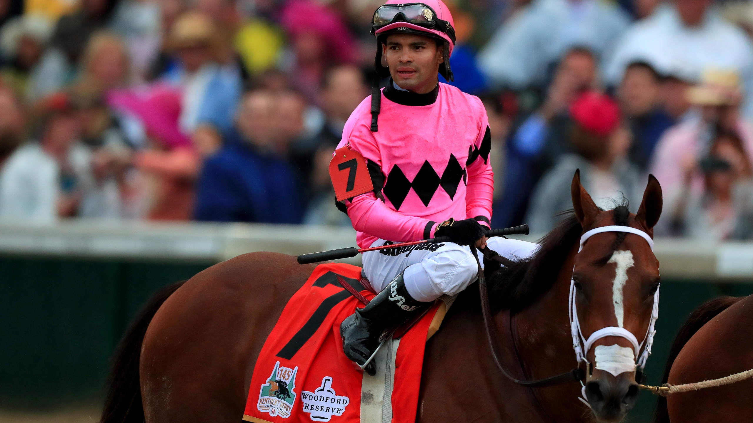 Luis Saez, the jockey for horse Maximum Security reacts after the 145th running of the Kentucky Derby at Churchill Downs on May 04, 2019 in Louisville, Kentucky. (Credit: Tom Pennington/Getty Images)