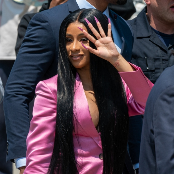 Cardi B arrives at court for the first day of her trial on May 31, 2019 in New York City. (Credit: David Dee Delgado/Getty Images)