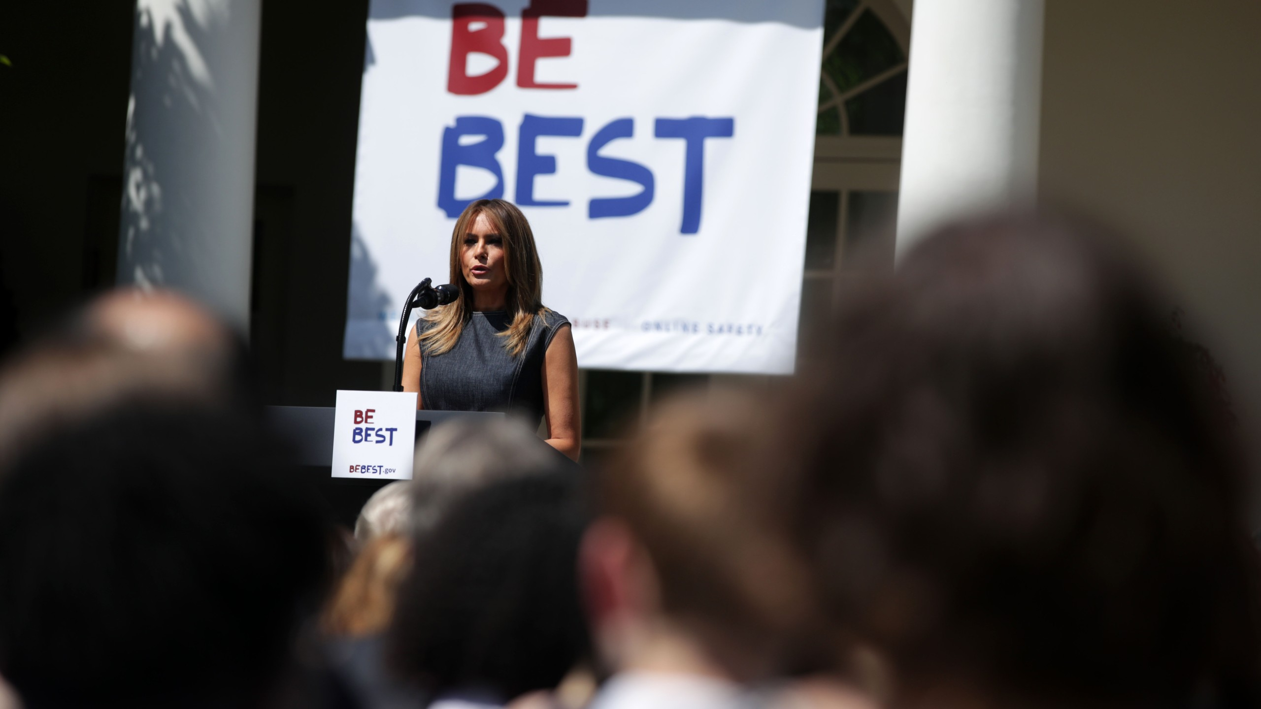 First lady Melania Trump speaks during a Rose Garden event at the White House on May 7, 2019. (Credit: Alex Wong/Getty Images)
