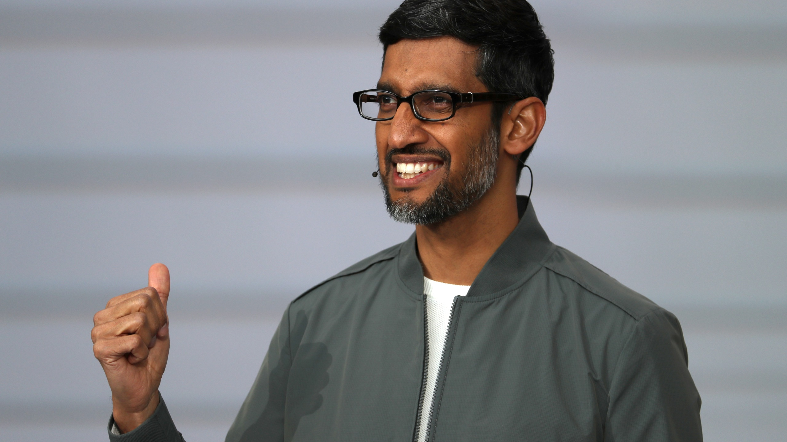 Google CEO Sundar Pichai delivers the keynote address at the 2019 Google I/O conference on May 7, 2019, in Mountain View, California. (Credit: Justin Sullivan/Getty Images)