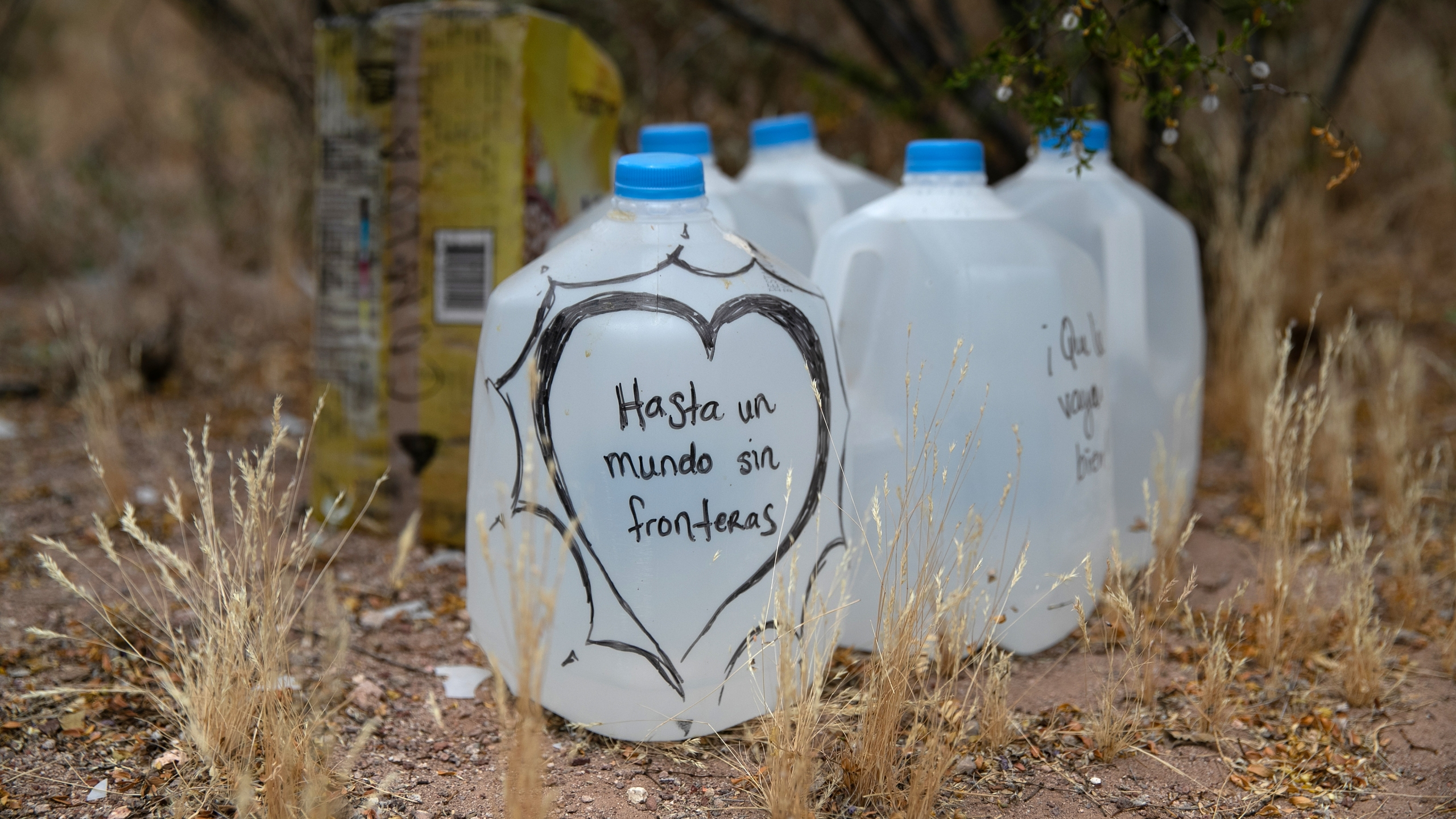 Jugs of water for undocumented immigrants sit along migrant trails near Ajo, Arizona, after being delivered by humanitarian volunteers with No More Deaths on May 10, 2019. (Credit: John Moore / Getty Images)