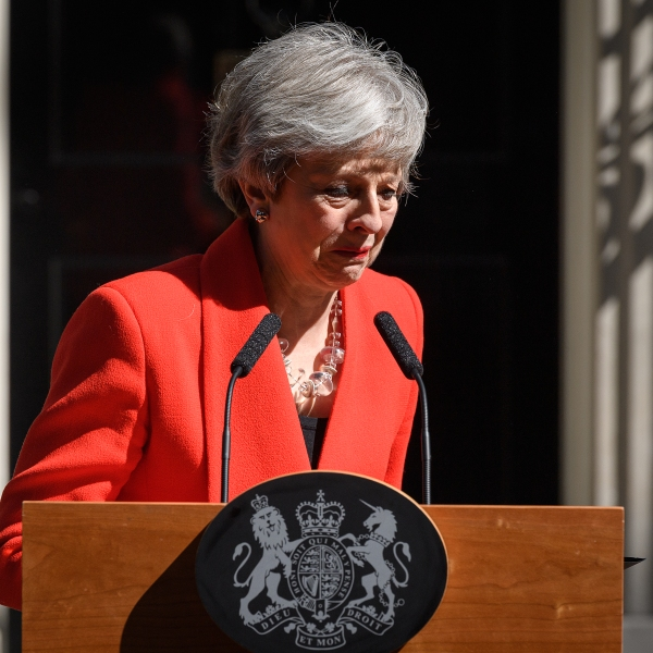 Prime Minister Theresa May makes a statement outside 10 Downing Street on May 24, 2019 in London, England. (Credit: Leon Neal/Getty Images)
