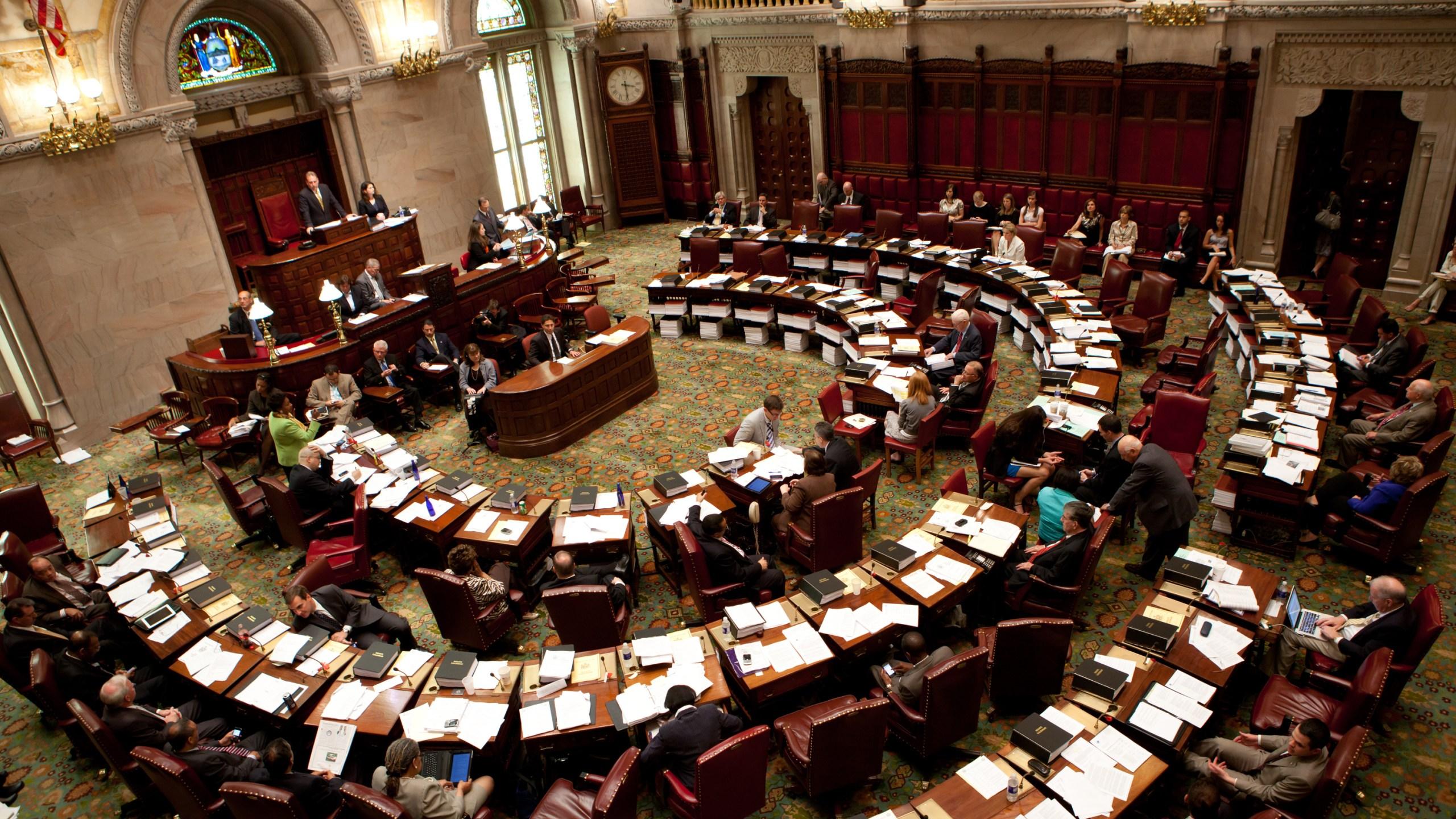 The New York State Senate debates legislation in the Senate chamber on June 16, 2011, in Albany, New York. (Credit: Matthew Cavanaugh/Getty Images)