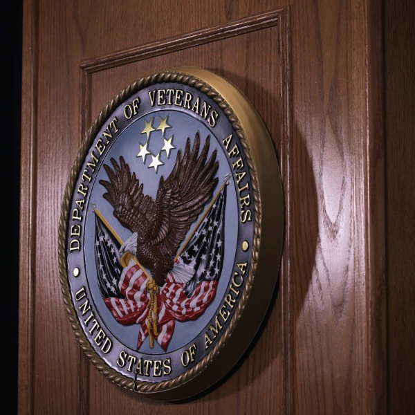 The sign of the Veterans Affairs Department is hung on the podium on Sept. 8, 2014. (Credit: Alex Wong/Getty Images)