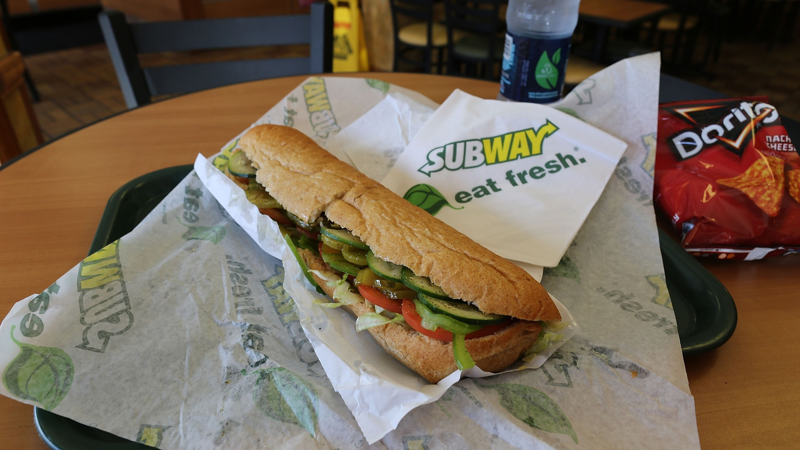 A Subway sandwich is seen in a restaurant. (Credit: Joe Raedle/Getty Images)