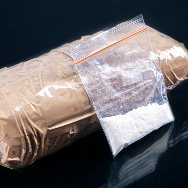 What's intended to be cocaine and a package is seen in this undated photo. (Credit: Getty Images)