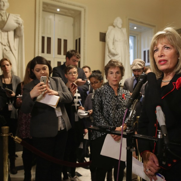 Rep. Jackie Speier (D-CA) talks to reporters during a news conference in the U.S. Capitol Dec. 1, 2015 in Washington, D.C. (Credit: Chip Somodevilla/Getty Images)