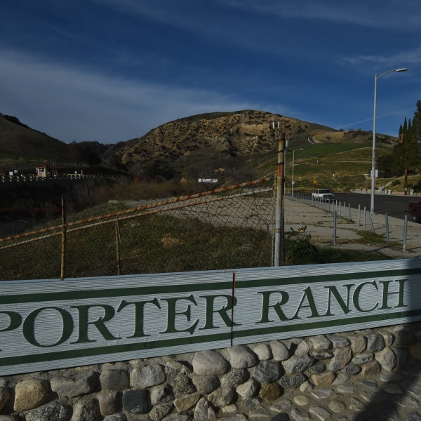 The entrance to the SoCal Gas facility in Porter Ranch is seen on January 22, 2016. (Credit: MARK RALSTON/AFP/Getty Images)